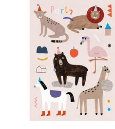 Poster with illustrated animals. Art And Illustration, Illustration Inspiration, Illustrations Posters, Character Illustration, Cute Animal Drawings, Cute Drawings, Murals For Kids, Animal Graphic, Animal Posters
