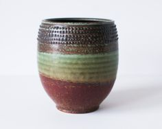 Rust Red and Turquoise Pot Spotted Rim Stoneware by DiTerra