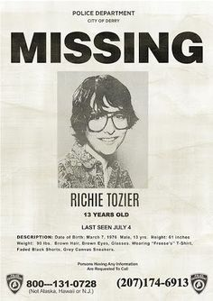 Richie Tozier Missing Poster Stephen King's It 2017 Finn Wolfhard, Pennywise Poster It, Poster Wall, Poster Prints, Photo Wall Collage, Picture Wall, Scary Movies, Horror Movies, Horror Movie Quotes, Makeup Vintage