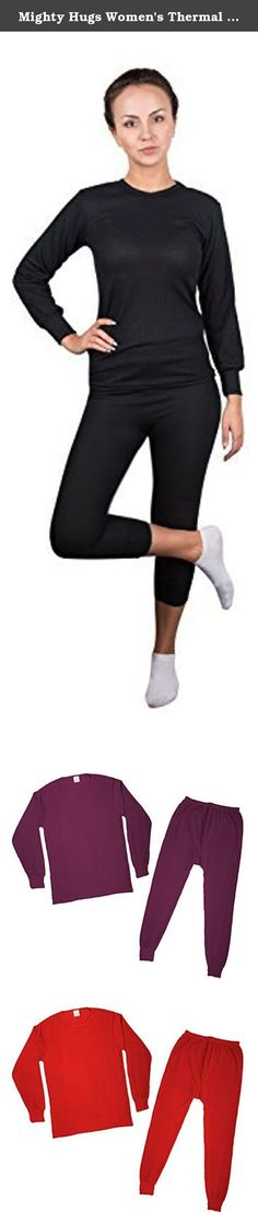Mighty Hugs Women's Thermal 2pc Set Long John Underwear XX-Large Black. Be prepared for the cold weathers! Keeping warm could not have been any easier. Thermal 2pc sets ideal for : High quality underwear ,Sleepwear, Athletic wear. Includes: Thermal 2pc set 0ne (1) top and one (1) bottom Double layer long knit cuffs . Full cut for comfortable fit. Shrinkage controlled for lasting size and shape. Waffle knit retains body heat to keep you warm. Heat-resistant elastic waistband Comfortable...