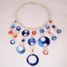 Sexy One of a Kind Blue and Orange Bib Necklace