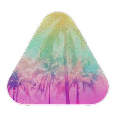 Girly Cool Pink Turquoise Tropical Ombre Palm Tree Bluetooth Speaker