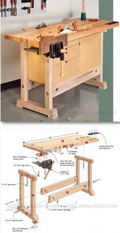 Compact Workbench Plans - Woodworking Plans and Projects | WoodArchivist.com #WoodworkingBench #woodworkingplans #woodworkingtips
