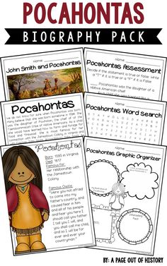 This FREE Pocahontas biography pack is a great addition to your women's history month social studies unit/curriculum! Included in this biography pack is a nonfiction passage about the life of Pocahontas and a variety of fun activities to do with your students! The best part? It's NO PREP! Just print, copy, & go!