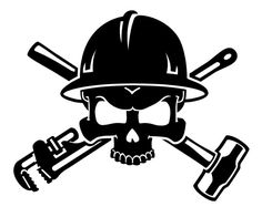 military skull drawings | Oil Field Roughneck Skull Decal