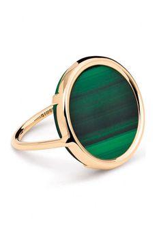 Bague Ginette NY, avec une pierre malachite verte sur monture or