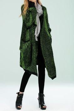 Bellywear Green Wool Blend Oversized Cardigan | Cardigans at DEZZAL