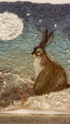 Winter Hare by Megan Henderson Wet and needle felted wall hanging