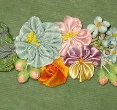 Circa 1920 Ribbon Art Flower Applique