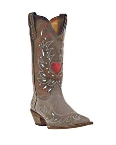 "Women's Val Boots - Grey  $138.95  Laredo        Width: 	      Medium (B)      Size: 	676.57.588.599.5      Quantity:    What you need to know        All Over Grey Goat Leather      13"" Height      Comfort Cushion Insole      Narrow Snip Toe      Composition Outsole      Cowboy Heel    SKU: DPOST-52117-GREY  Laredo Women's Val Boots - Grey  I'm in love with these boots!!!!!!!!!"