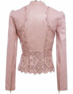 Back View~ The Libre jacket from contemporary British designer Alice by Temperley. Featuring intricate laser cut leather trim in a floral pattern around the neckline, stitched shoulder panels and pleated hemline, very high quality finishings. Look Rose, Leather And Lace, Pink Leather, Custom Leather, Leather Fashion, Fashion Dresses, Women Wear, Cute Outfits, My Style