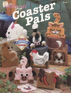 The Needlecraft Shop Animal Coaster Pals in Plastic Canvas Pattern Leaflet Vintage
