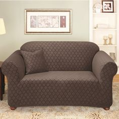 Sure Fit Stretch Marrakesh Loveseat Slipcover in Cocoa (Box Cushion) - Sure Fit Slipcovers, Loveseat Slipcovers, Furniture Covers, Home Furniture, Furniture Design, Loveseat Covers, Box Cushion, Cushions, Pillows