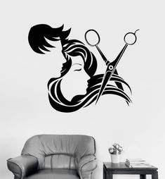 Vinyl Wall Decal Hair Salon Stylist Hairdresser Barber Shop Stickers Unique Gift in X in / Black Hair Salon Interior, Salon Interior Design, Salon Design, Beauty Salon Decor, Hair And Beauty Salon, Hair Salon Logos, Barber Shop Decor, Decoration Vitrine, Interior Design Pictures