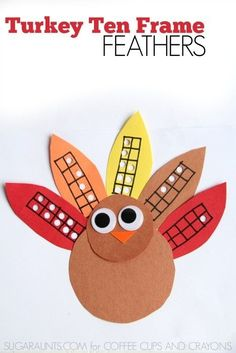 Practice math with a turkey theme using these Turkey Ten Frame Feathers! My kids loved