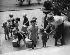 World War 2: Young children evacuated from London arrive at a country house at     Cheltenham, July 1941.