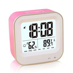 FAMICOZY Rechargeable Alarm Clock for GirlsDesk Travel ClockRepeating SnoozeWeek 1224h FormatAuto Low NightlightTemperature Humidity DisplayPink *** Check out this great product.