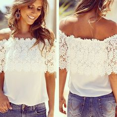 Sexy Floral Lace Crochet Top Shirt