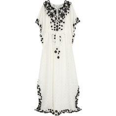 Oscar de la Renta Floral-appliquéd lace kaftan ($2,690) ❤ liked on Polyvore