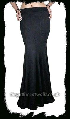 Gothic Clothing Long Black Mermaid Skirt