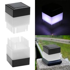 Outdoor Solar Powered Fence Post Pool LED Square Light Garden Pathway Lamp White    eBay