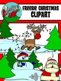 Christmas / Winter Holiday Clip art - Graphic FREEBIE  Included are 2 Color, 2 Grayscale, and 2 Black Lined, PNG/Transparent Clipart.