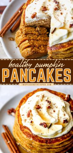 Looking for the best fall food idea? Learn how to make these Healthy Pumpkin Pancakes! Pumpkin puree, oats, spices, and pure maple syrup are all blended to create fluffy and gluten-free pancakes! Save this recipe. Fall Breakfast, Quick And Easy Breakfast, Breakfast Dishes, Gluten Free Pancakes, Gluten Free Oats, Pumpkin Recipes, Fall Recipes, Healthy Recipes, Pumpkin Pie Spice