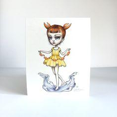 Cáncer zodiaco chica firmada 8 x 10 lowbrow de surrealismo