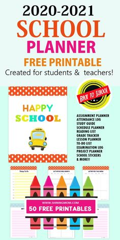 Looking for school planner printables? You'll love this fun and colorful planner with 50 school organizers for teachers and students. Perfect for back to school! #freeprintables #teacherbinder #freeplanners #students