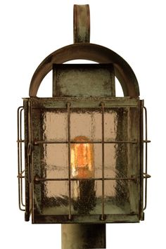 Back Bay Post Light Outdoor Copper Lantern: Nautical copper lighting handmade in the USA; lifetime warranty, free shipping. Perfect for lakefront and waterfront homes.