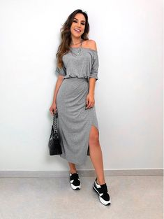 Swans Style is the top online fashion store for women. Shop sexy club dresses, jeans, shoes, bodysuits, skirts and more. Casual Dresses, Casual Outfits, Summer Outfits, Modest Fashion, Fashion Outfits, Womens Fashion, Romantic Outfit, Dress With Sneakers, Weekend Wear