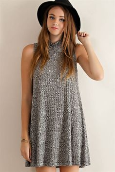 Sleeveless Ribbed Dress - Black