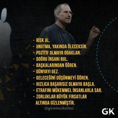 Steve Jobs'tan Alıntılar. @girisimcikafasi #liderlik #başarı #pazarlama #kariyer#business #işdünyası #girişimcilik#girişimci #girişim #startup #motivasyon #aslavazgecmem #girişimcikafası #psikoloji #hedef #gününsözü Steve Jobs, Life Box, Positive Psychology, Good Notes, Human Resources, Study Tips, Art Therapy, Positive Thoughts, Funny Posts