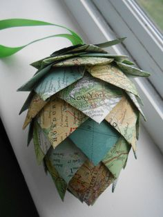 Hey, I found this really awesome Etsy listing at https://www.etsy.com/listing/212791567/vintage-map-paper-pinecone-ornament