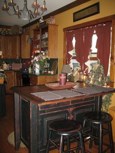 So funny finding my own kitchen on pinterest! Primitive kitchen~Love the island!!~