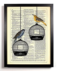 Upcycled Dictionary Art Vintage Book Print Recycled Vintage Dictionary Page Two Birds Enjoying A Day Outside There Cages Buy 2 Get 1 FREE on Etsy, $6.99