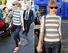 Taylor sabe muito bem como turbinar o look básico: a blusa listrada tem aquele charme francês, enquanto o keds Red (assinado pela cantora) dá mais cor ao look.