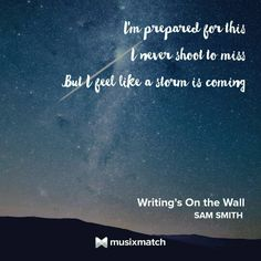 Sam smith - Writing's on the Wall - this song makes me want to EXPLODE it's so freaking amazing