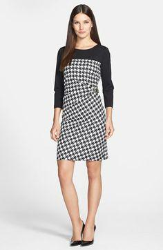 Tahari Side Buckle Houndstooth Ponte Sheath Dress (Petite) | Nordstrom