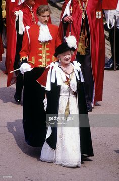 The Queen Mother wearing the robes of the Order of the Garter, in procession through Windsor Castle on June 16, 1986 at the Garter ceremony, in Windsor, Berkshire, England.