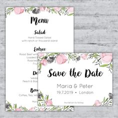 Floral wedding invitation free vector pozivnice pinterest pastel menu de aquarela rosa e salvar os cartes de data floral wedding invitationsneed stopboris Gallery