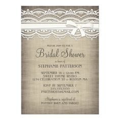 Vintage Lace & Linen Rustic Elegance Bridal Shower Personalized Announcement
