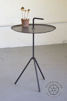 Beautiful Metal Tripod Side Table With Handle Design