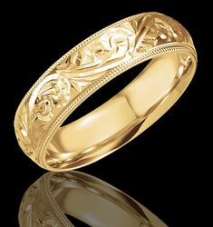 6MM Hand Engraved 14K Yellow Gold Wedding Band
