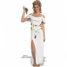 Athenian Goddess Women Costume. Your next Toga Party will be lucky to have you there if you're wearing this ultra Sexy Athenian Goddess Women's Costume. Features - Standard size Dress with wrap belt a