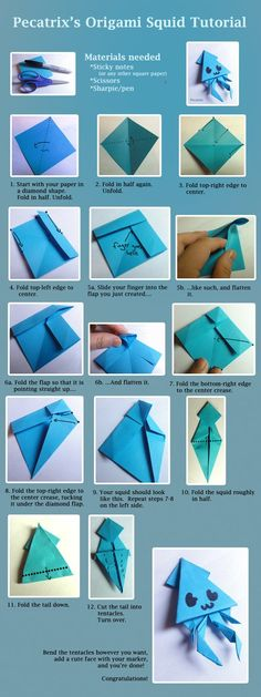 Origami Squid Tutorial by ~pecatrix on deviantART