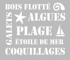 Pochoir Adhésif 28 x 20 cm PLANCHE LETTRAGES MER