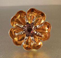 Amethyst Rose Gold Filled Brooch Flower Design 2 Tone A&Z