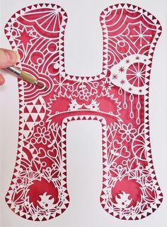 H is for Hedgehogs Alphabet Rainbow Papercut by HouseOfAlphonse
