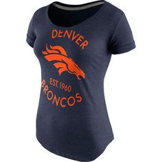 Denver Broncos Nike Women's Crested Scoopneck Tri-Blend T-Shirt - Navy... ($38) ❤ liked on Polyvore featuring tops, t-shirts, navy, scoop neck tee, ripped t shirt, graphic design t shirts, vintage tees and nike